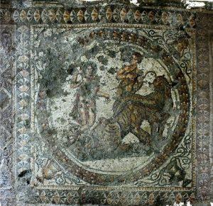 Tondo con Trionfo indiano di Bacco villa romana di Casignana